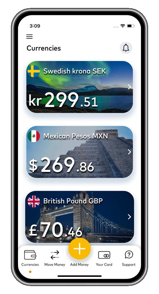 Travel money card app screenshot